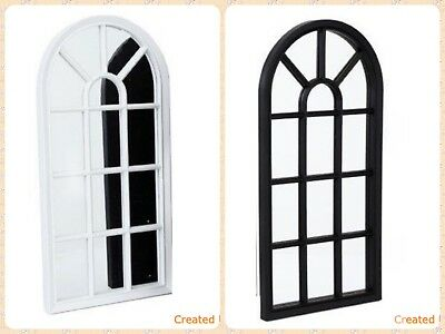 Arched Wall Mirror Glass Panel Window Style Shabby Vintage Hallway Home Decor BN