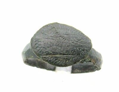 Viking Era Bronze Ring Decorated - Very Rare Wearable Ancient Artifact - P663