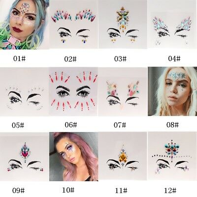 Face Eye Rhinestone Jewels Acrylic Body Art Stickers Tattoo Festival Xmas Party
