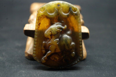 Vintage Chinese Antiques Hand Carved Natural Jade pendant -sheep T-962