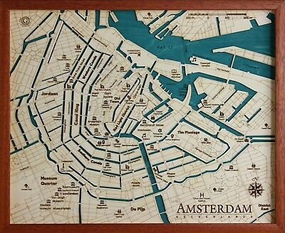 GeckoArt | Amsterdam Wood map chart 3D 100% Made in Italy Laser cut