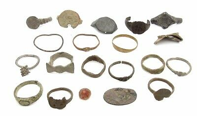 Lot Of 20 Roman / Medieval Bronze Rings & Bits For Cleaning - Artifacts - P697