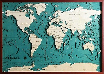 GeckoArt | The World Wood map chart 3D 100% Made in Italy Laser cut