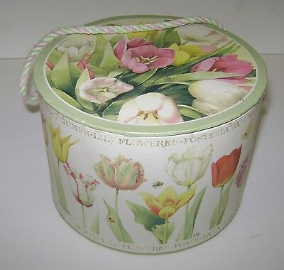 "Marjolein Bastin Nesting Hat Box Tulips W/ Handle 6"" Round 4"" Tall Nice Used"