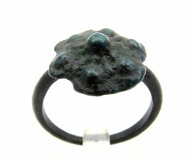 Roman Bronze Ring Floral Motif - Ancient Wearable Historic Artifact Nice - P701