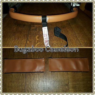 Bugaboo Cameleon 1 2 3 faux leather zip on handle bar covers in TAN