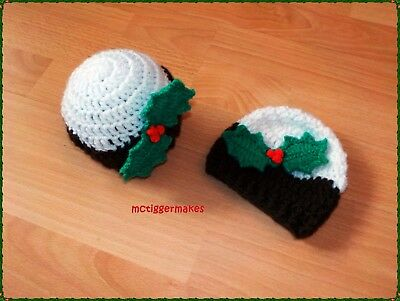 New Crochet Christmas Pudding Beanie Hat - Baby/Child/Adult - Various Sizes!