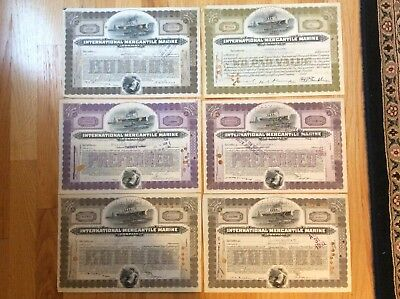Lot of Six (6) 1920's International Mercantile Marine Company Stock Certificates