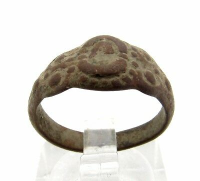 Late Medieval Bronze Ring W/ Floral Motif - Rare Historic Artifact Wearable P705