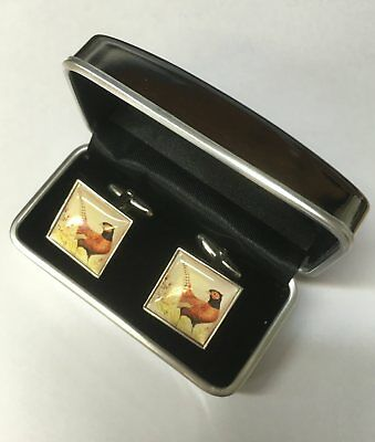 Special Offer Clearance Sterling Silver Cufflinks Hand Made Bird Pheasant Print