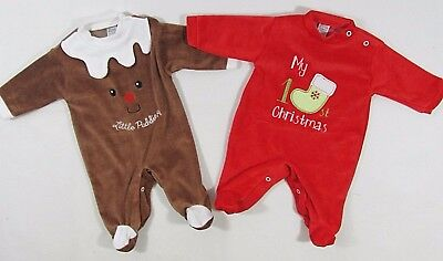 Baby Babies First Xmas 1st Christmas Novelty Sleepsuit Babygrow Pudding Red 86/7