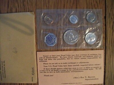 1960P US 5 Coin Mint Silver Franklin Proof Set & Original Envelope FREE SHIPPING