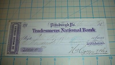 GREAT 1872 Cancelled $1000 Check!  NEAT!