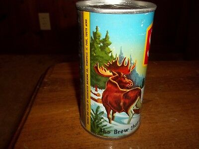 """Schmidt """"Moose"""" S/S pull tab beer can - wide seam/yellow back - Associated Brwg."""