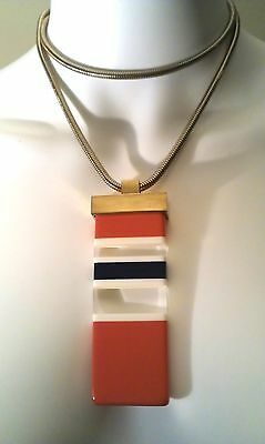 RUNWAY huge & SUPERB 1970S sgnd LANVIN PARIS striped Resin PENDANT NECKLACE