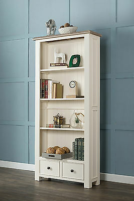 Antique White Painted Chunky Pine Wood Large Open Bookcase Display With Drawers