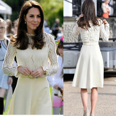 Kate Middleton White Knitted Autumn Dress Long Sleeve Hollow Out Plus Size Dress