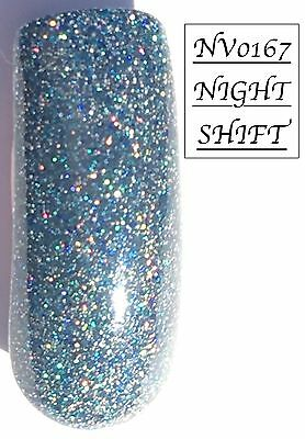 Night Shift Blue Glittered Acrylic Powder 10G Bag Please See Description