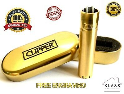 GOLD Genuine CLIPPER Metal with FREE ENGRAVING Lighter Gift Tin LIMITED EDITION