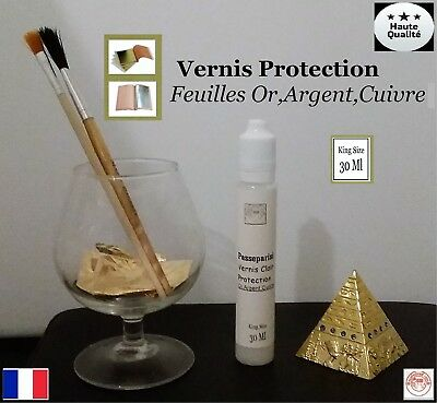 Vernis Protections Clair Feuille d'or Gold Leaf paper sheets 30 ml King Size