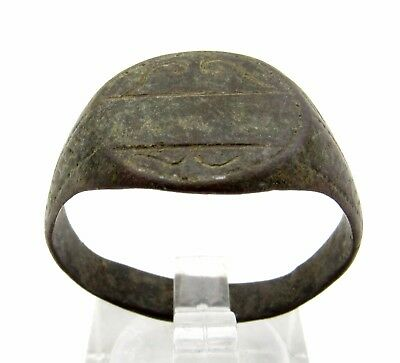 Medieval Bronze Ring W/ Decorated Bezel - Wearable Artifact Stunning Rare - P780
