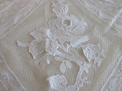"Wonderful Antique French Tambour Lace Runner 48"" by 18"" Floral Rose"
