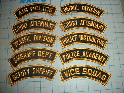 TEN Vintage Law Enforcement Police Tab Rocker Patches!  GREAT Variety!