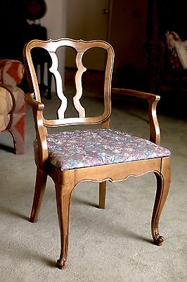 Drexel Vintage French Provincial Dining Arm Chair, Upholstered, NICE!
