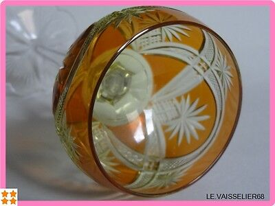 ONE ANTIQUE WINE GLASS ROMER CRYSTAL TWO COLORS BACCARAT OR VSL 1920s'