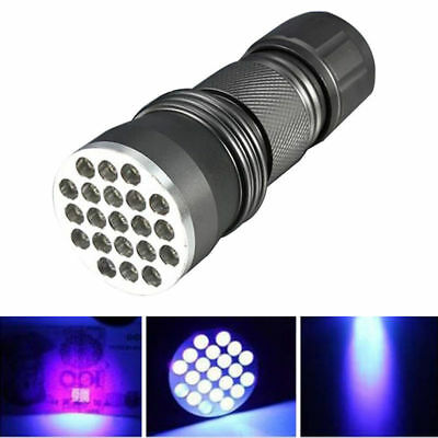 21 LED Ultra Violet UV Flashlight Mini Torch Blacklight Ink Light Lamp