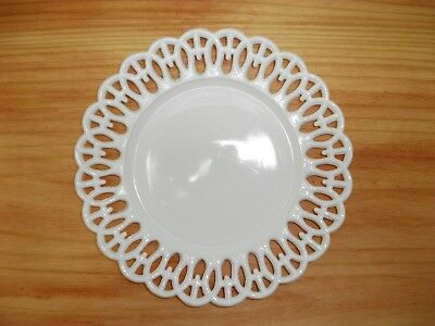 Old Milk Glass Open Lace Edge Scalloped Reticulated Lattice Round Vintage