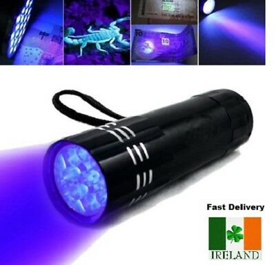 9 LED Torch UV Light Ultra Violet Blacklight LEDS Pocket Flashlight Mini Torch