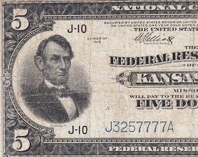 """Nice Circ 1918 $5 """"Lincoln at Left"""" KANSAS CITY FRBN Note! FREE SHIP! J3257777A"""