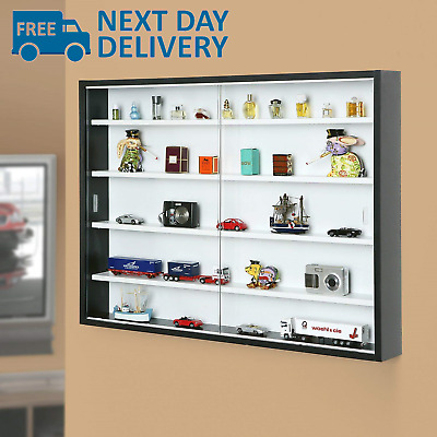 NEW Display Cabinet Modern Storage Shelves Wall Glass Case Box Collectibles Case