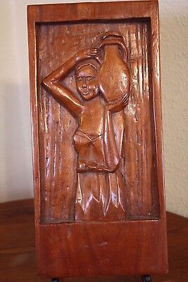 Wooden Vtg Hand Carved Wood Panel Woman Jug Water Ethnic Wall Hanging Plaque