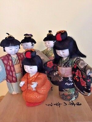 5 Exquisite Vintage CEREMONIAL ASIAN/Japanese DOLLS w/PORCELAIN HEAD,HANDS,