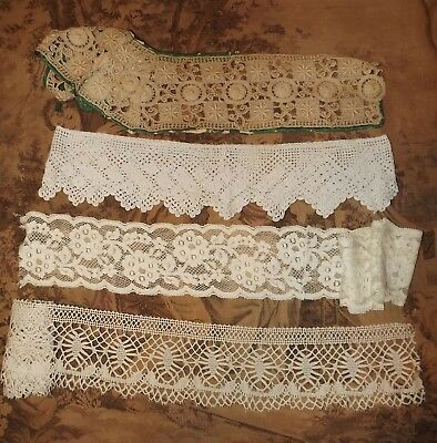 Lot VINTAGE & OR ANTIQUE Edging & Insertion LACE TRIMS  Wide Bobbin ? Crochet ?