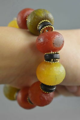 Chinese Collectable Handwork Decor Old Agate Carve Colorful Bead Lucky Bracelet