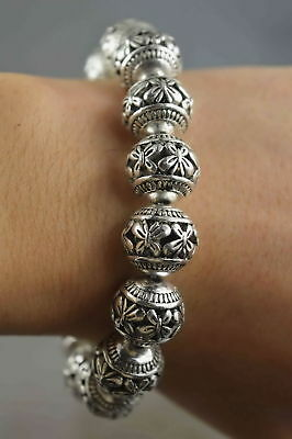China Collectable Handwork Old Miao Silver Carve Butterfly Hollow Bead Bracelet