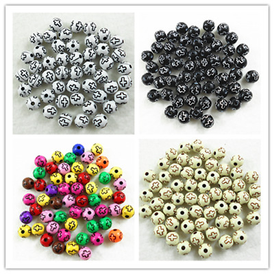 50 Pcs 8mm Cross Acrylic Round Spacer Loose Beads Bracelet Necklace DIY Charm