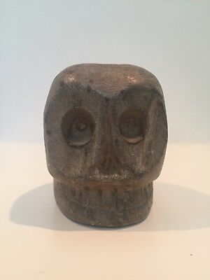 Rare Early Native American Mound Builder Etowah Skull Effigy Smoking Pipe 700 BC