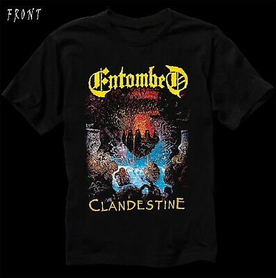 ENTOMBED-Clandestine-Death metal band-Carcass-Dismember, T_shirt-sizes:S to 7XL