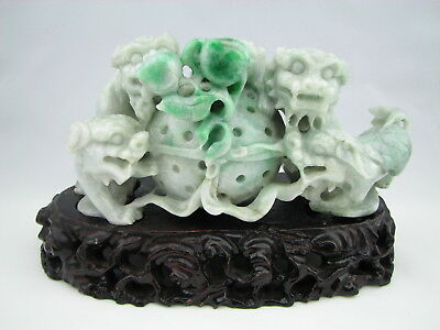 Genuine Natural Green White Jade Carving Freeform Guardian Lions Sculpture #G067