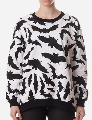 NWT Women's A Question Of Bats Loose Sweat Print Top White Size L LG Large $110