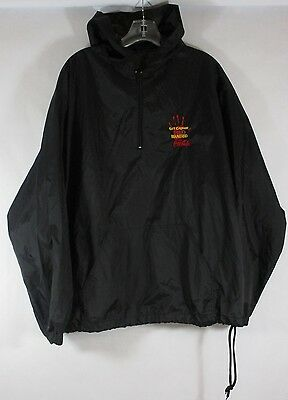 Coca Cola Windbreaker Jacket Embroidered XL Black Hoodie Get Caught Red Handed