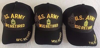 Us Military Army 1St Sergeant Master Sergeant First Class Retired Ball Cap Hat