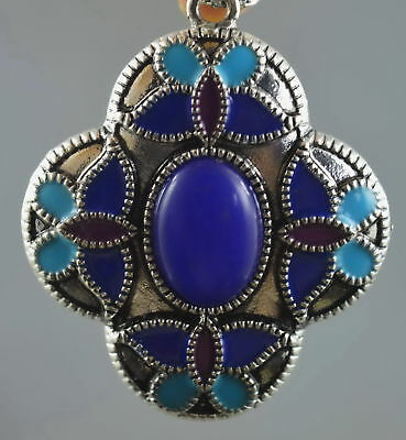 Collectable Handwork Old Miao Silver Carve Colorful Flower Inlay Agate Pendant