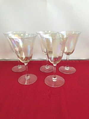 Antique Crystal Sherry Wine Stem Glass Set of 5 - free shipping - see photo