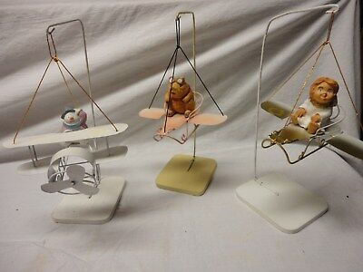 Mobiles flying airplane pig angel snowman hand made in the Philippines metal VTG