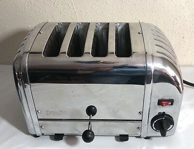 DUALIT 4-SLICE MANUAL POP-UP TOASTER. CHROME. 120 VOLT( Free Shipping)Works